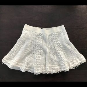 BCBG MAXAZRIA Sabrina Lace Godet Mini Skirt White